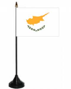 Cyprus Desk / Table Flag with plastic stand and base.
